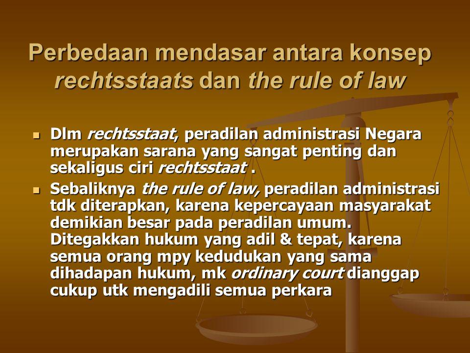 Perbedaan mendasar antara konsep rechtsstaats dan the rule of law