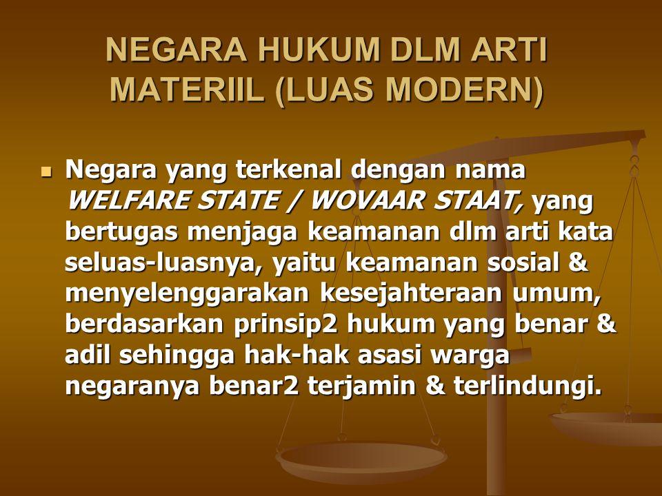 NEGARA HUKUM DLM ARTI MATERIIL (LUAS MODERN)