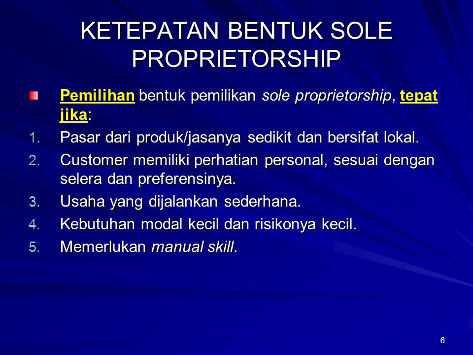 KETEPATAN BENTUK SOLE PROPRIETORSHIP