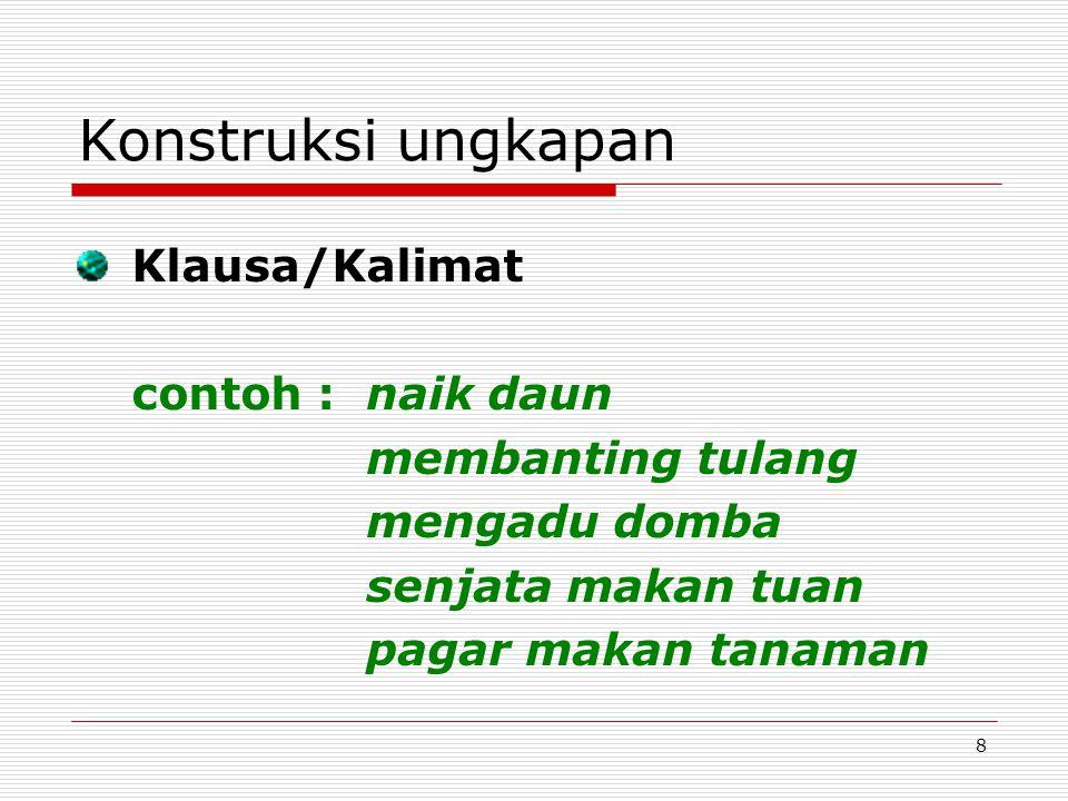 Konstruksi ungkapan Klausa/Kalimat contoh : naik daun