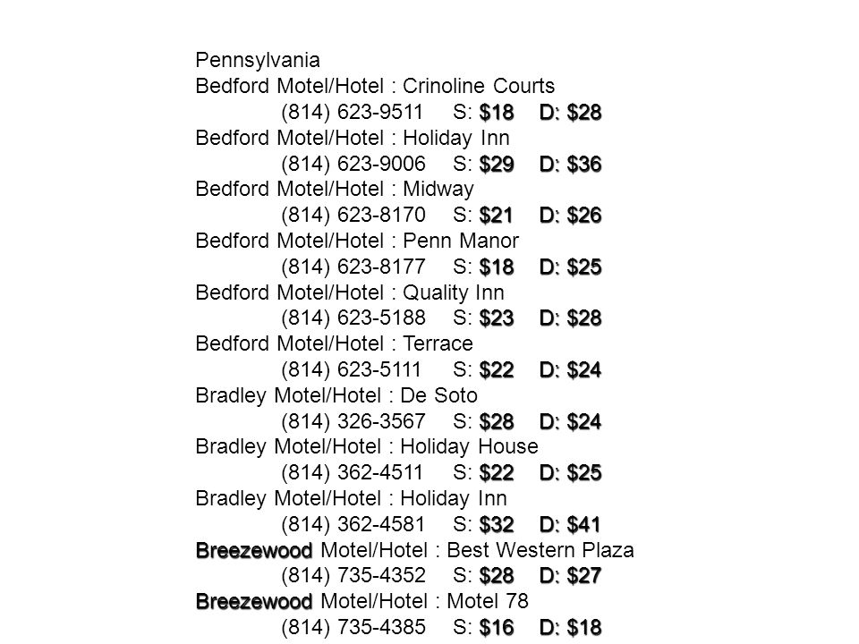 Pennsylvania Bedford Motel/Hotel : Crinoline Courts. (814) S: $18 D: $28. Bedford Motel/Hotel : Holiday Inn.