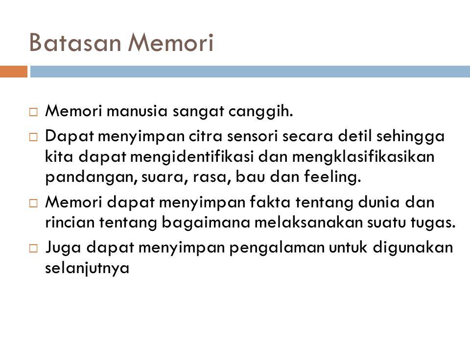Batasan Memori Memori manusia sangat canggih.