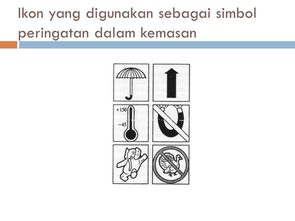 Ikon yang digunakan sebagai simbol peringatan dalam kemasan