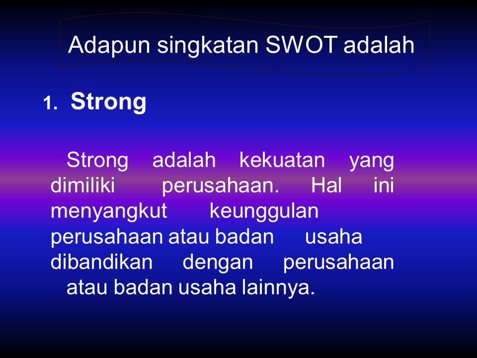 Adapun singkatan SWOT adalah