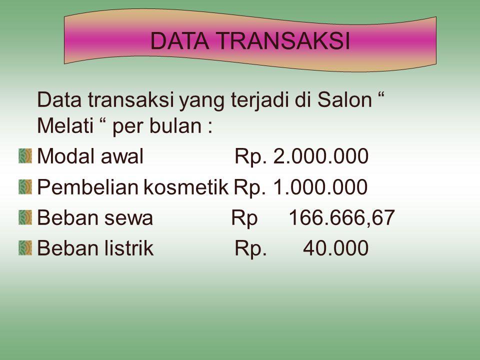 DATA TRANSAKSI Data transaksi yang terjadi di Salon Melati per bulan : Modal awal Rp. 2.000.000.