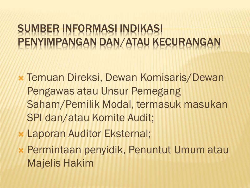 Sumber Informasi Indikasi Penyimpangan dan/atau Kecurangan
