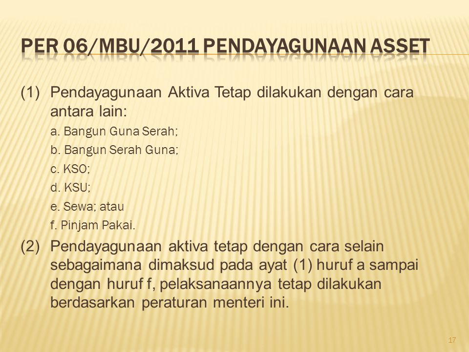 PER 06/MBU/2011 Pendayagunaan asset