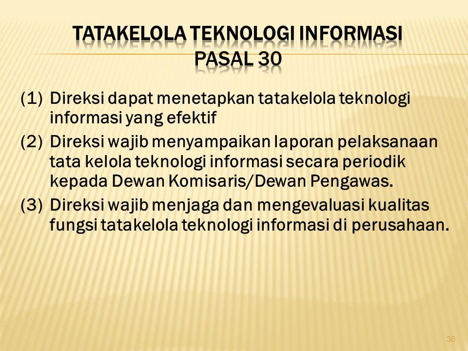 Tatakelola Teknologi Informasi Pasal 30