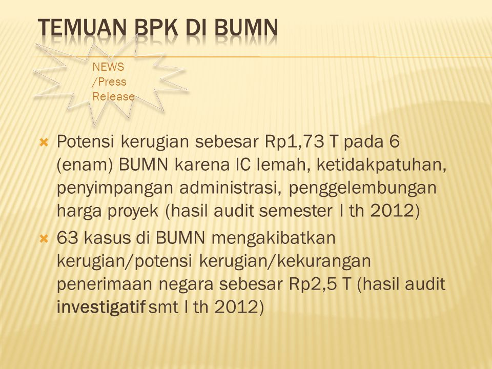 Temuan BPK di BUMN NEWS. /Press Release.