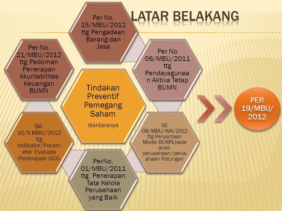 Latar Belakang Tindakan Preventif Pemegang Saham PER 19/MBU/2012