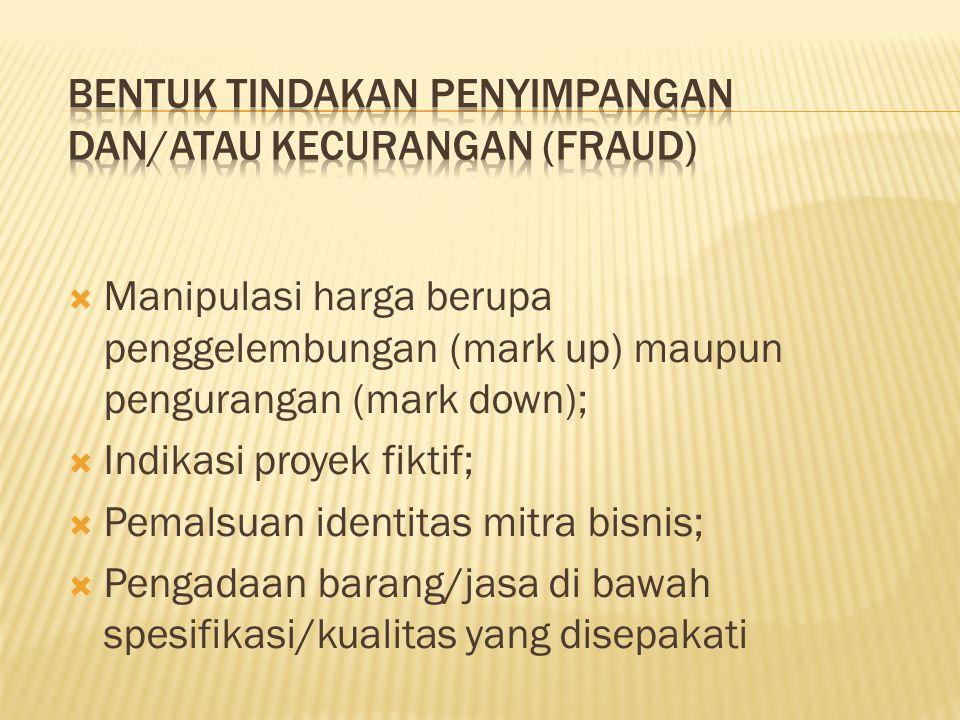 Bentuk Tindakan penyimpangan dan/atau kecurangan (fraud)