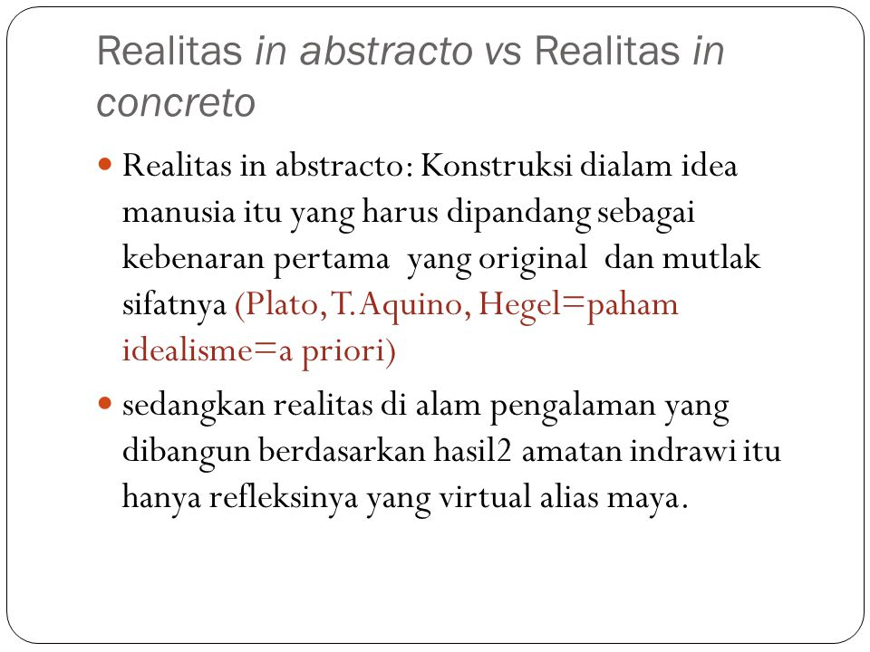 Realitas in abstracto vs Realitas in concreto