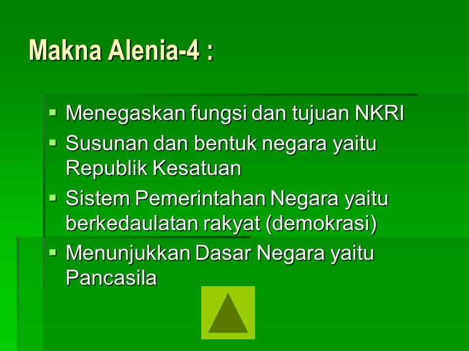 Makna Alenia-4 : Menegaskan fungsi dan tujuan NKRI