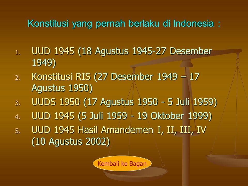Konstitusi yang pernah berlaku di Indonesia :