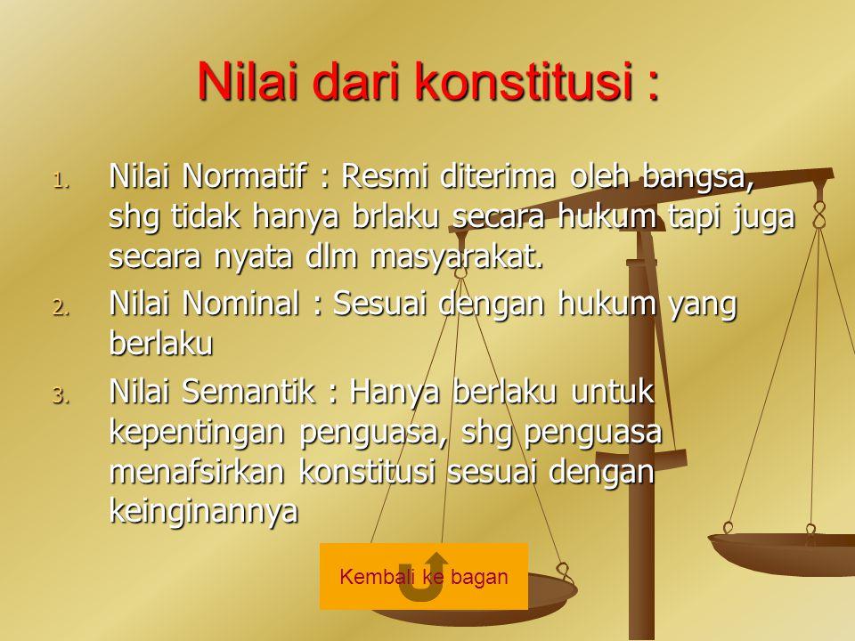 Nilai dari konstitusi :