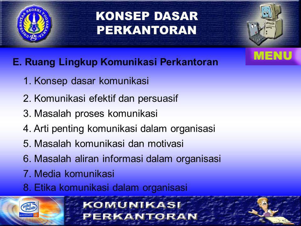 KONSEP DASAR PERKANTORAN E. Ruang Lingkup Komunikasi Perkantoran