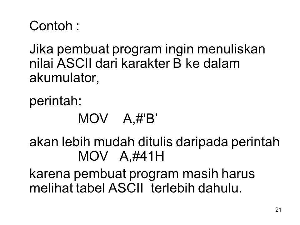 Contoh : Jika pembuat program ingin menuliskan nilai ASCII dari karakter B ke dalam akumulator, perintah: