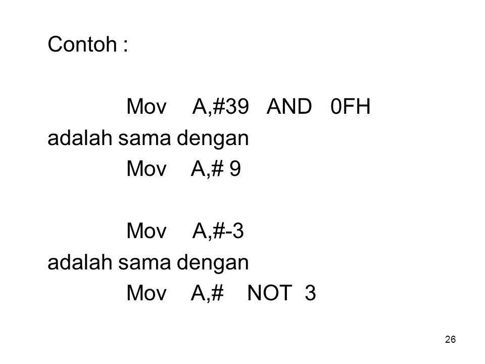 Contoh : Mov A,#39 AND 0FH. adalah sama dengan.