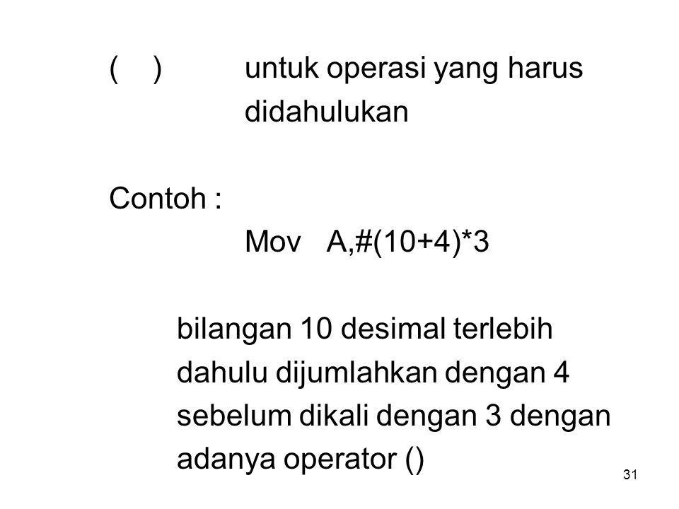 ( ) untuk operasi yang harus