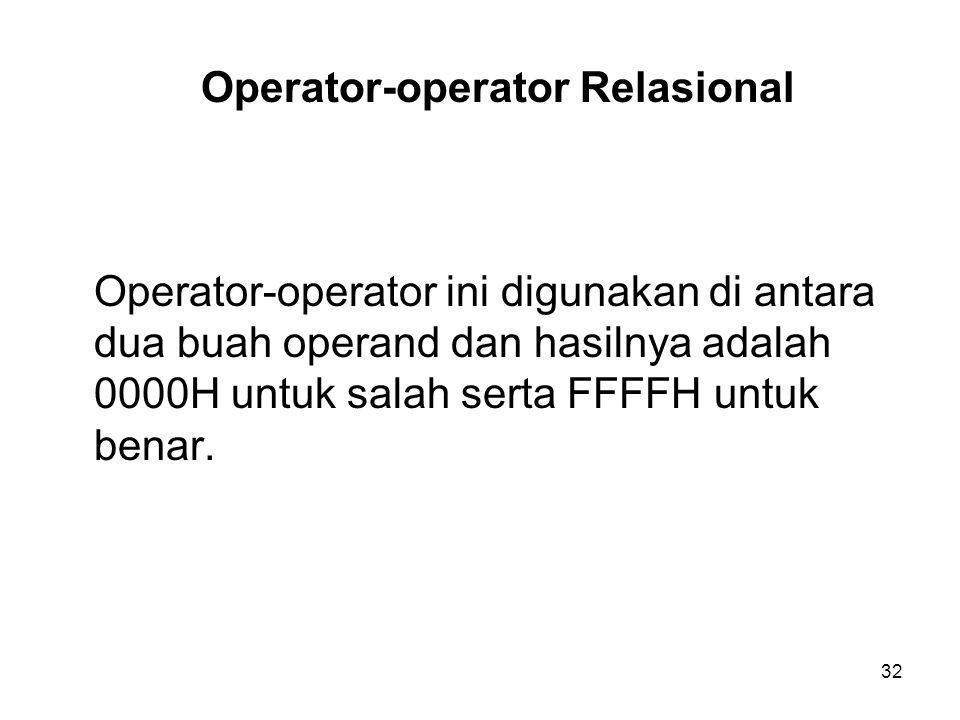 Operator-operator Relasional