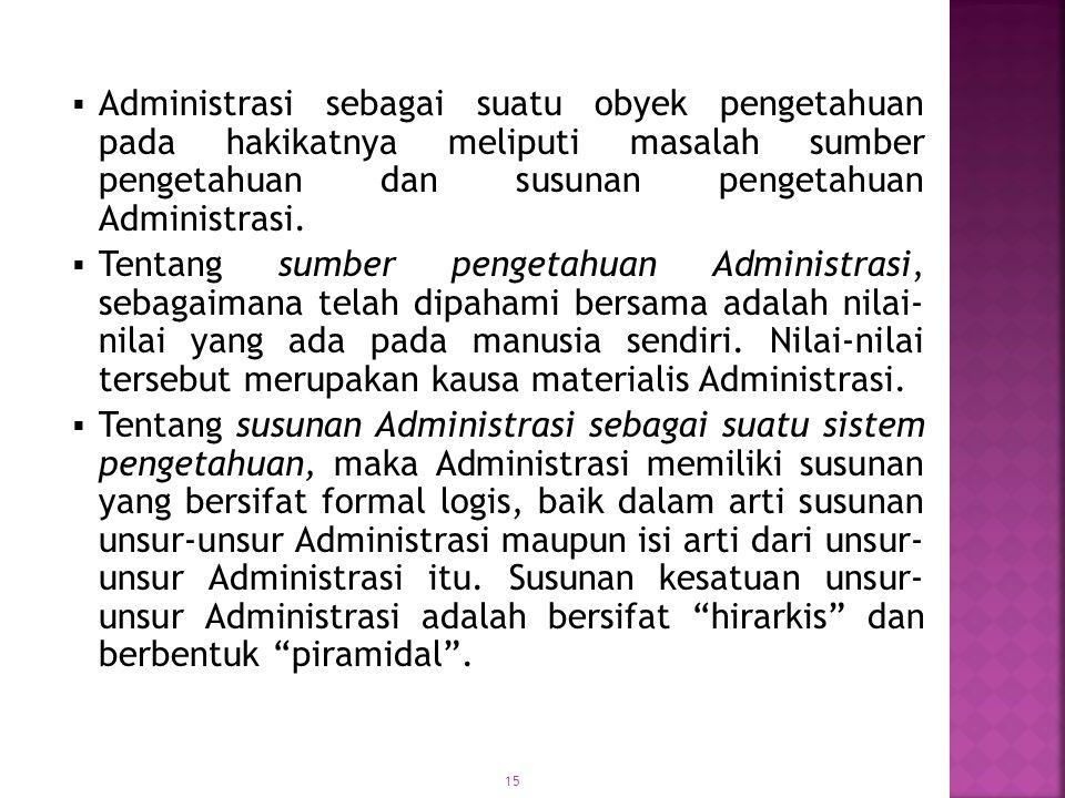 Administrasi sebagai suatu obyek pengetahuan pada hakikatnya meliputi masalah sumber pengetahuan dan susunan pengetahuan Administrasi.
