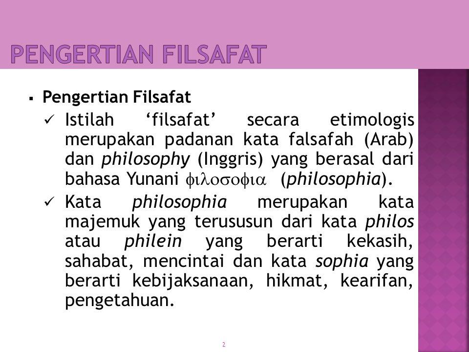 PENGERTIAN FILSAFAT Pengertian Filsafat.