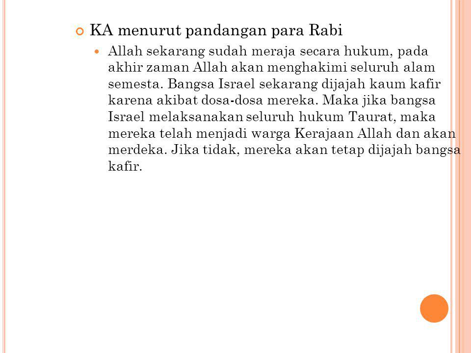 KA menurut pandangan para Rabi