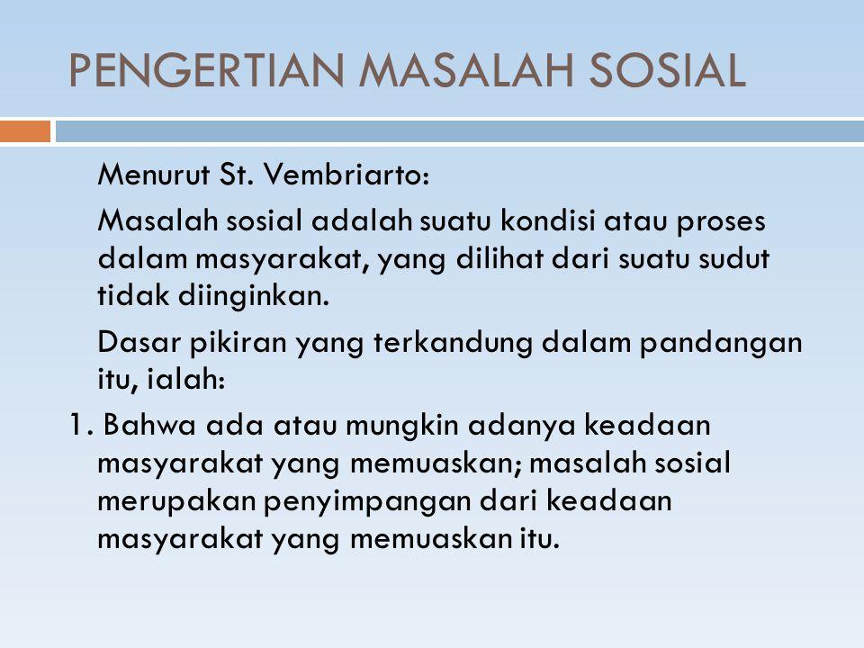 PENGERTIAN MASALAH SOSIAL