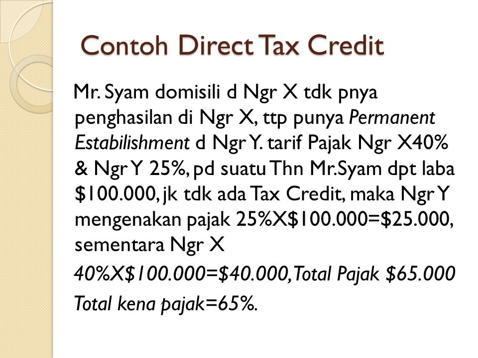 Contoh Direct Tax Credit