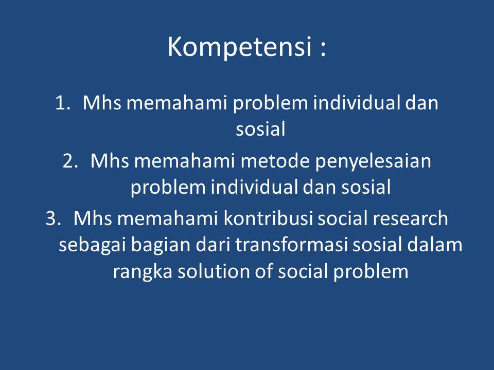 Kompetensi : Mhs memahami problem individual dan sosial
