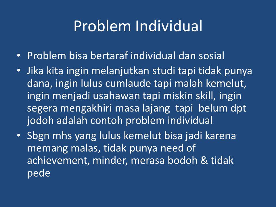 Problem Individual Problem bisa bertaraf individual dan sosial