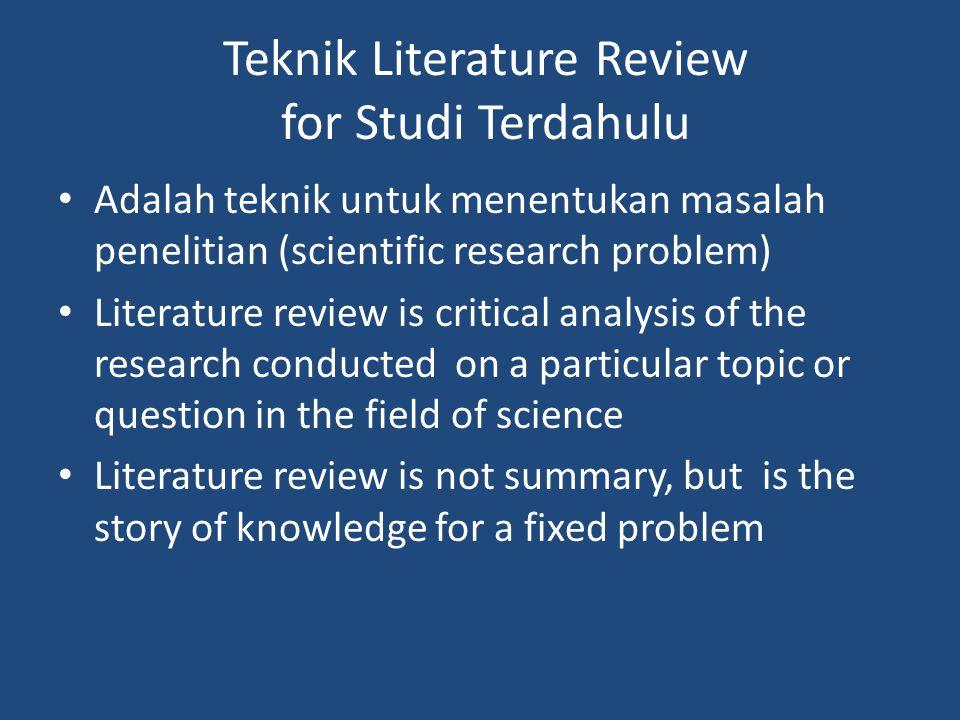 Teknik Literature Review for Studi Terdahulu