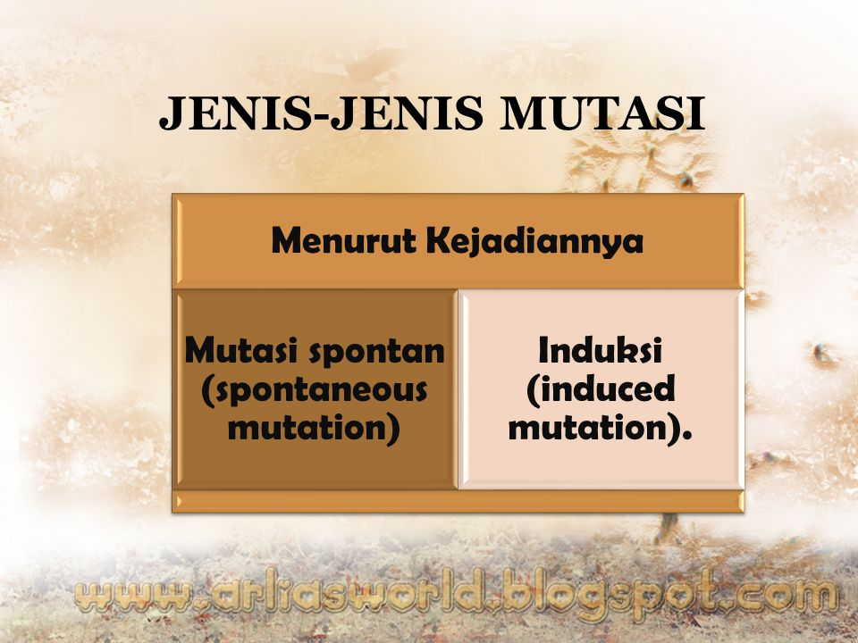 Induksi (induced mutation).