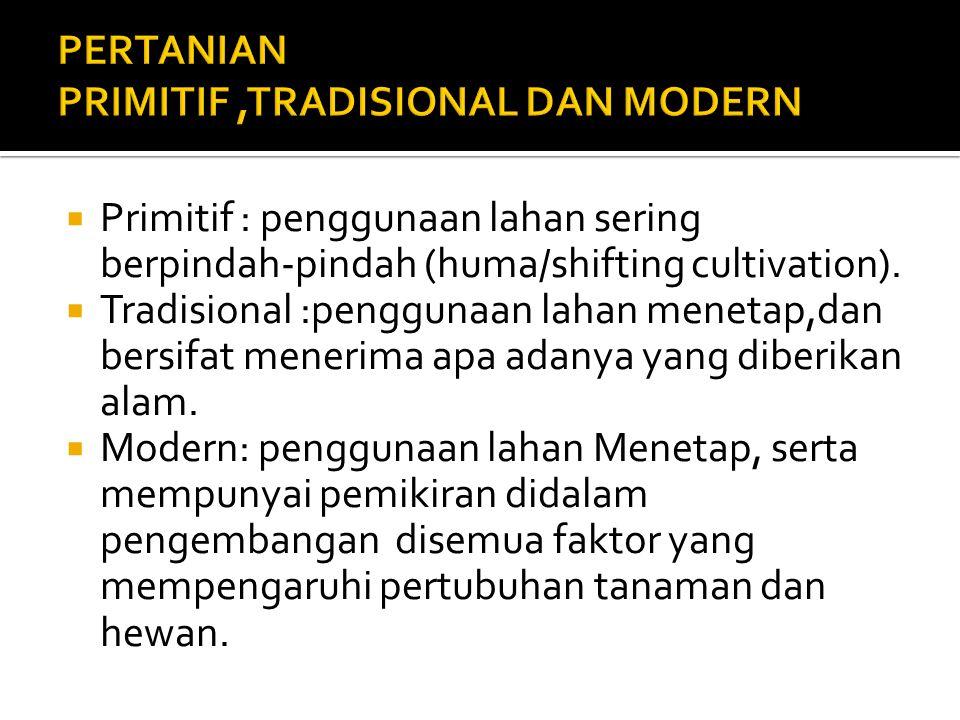 PERTANIAN PRIMITIF ,TRADISIONAL DAN MODERN