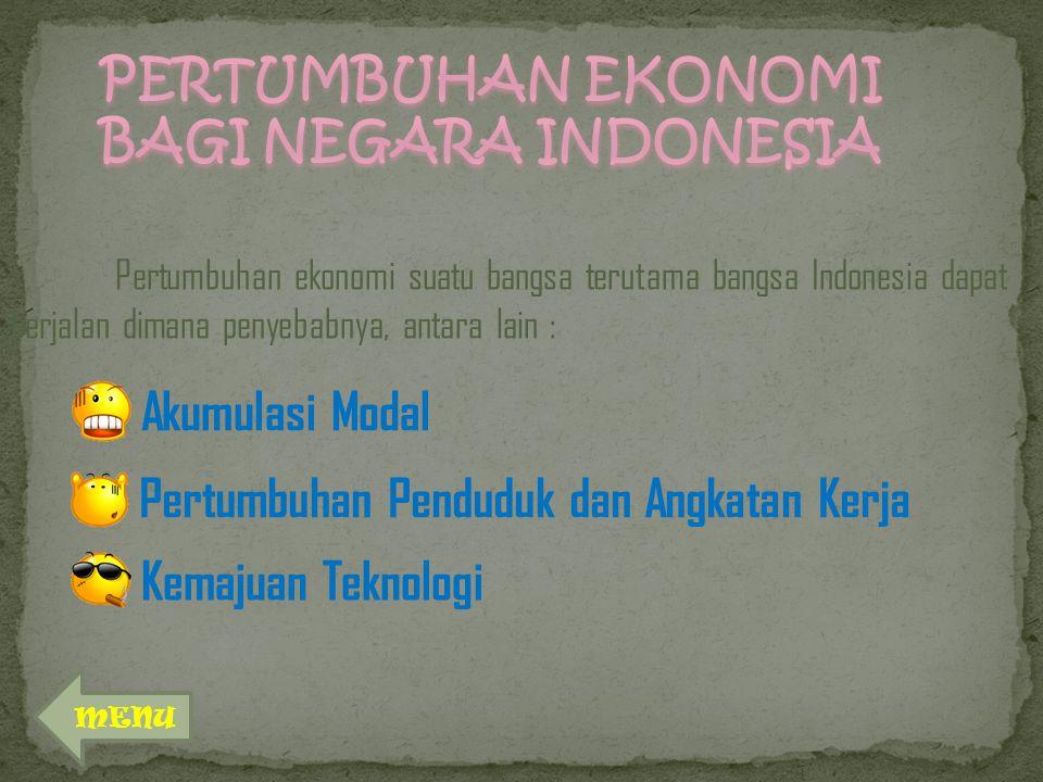 PERTUMBUHAN EKONOMI BAGI NEGARA INDONESIA