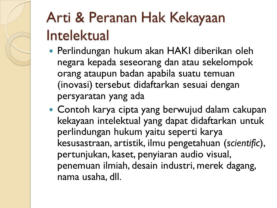 Arti & Peranan Hak Kekayaan Intelektual