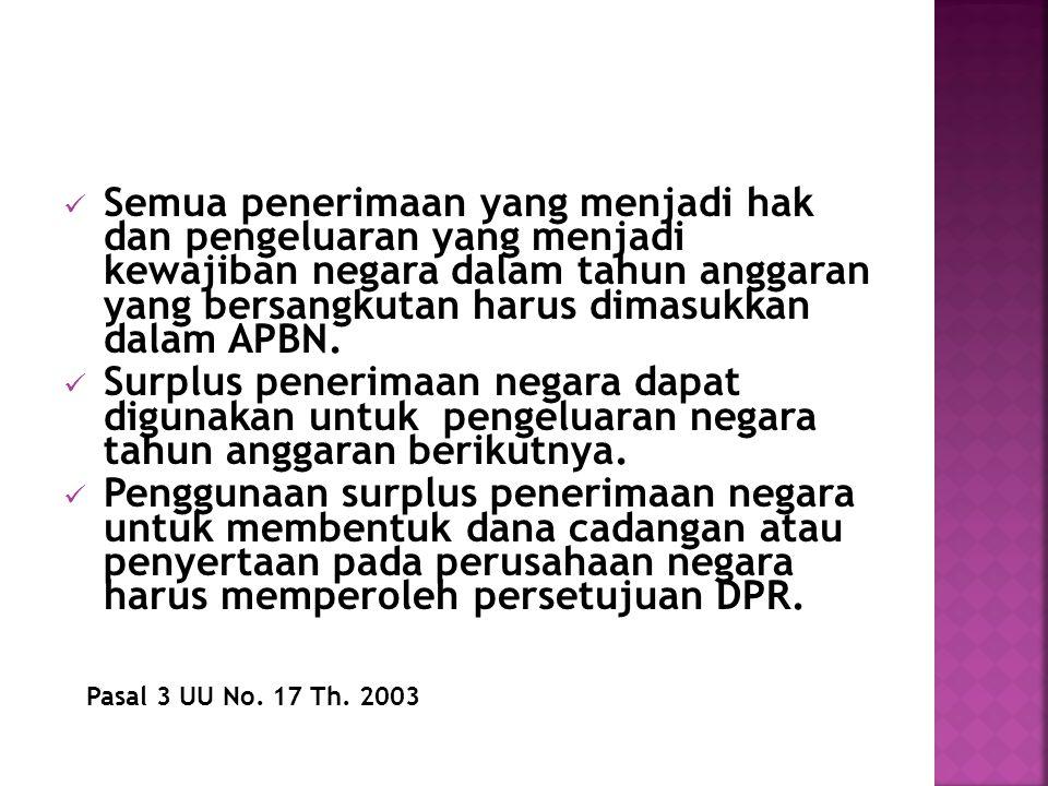 Semua penerimaan yang menjadi hak dan pengeluaran yang menjadi kewajiban negara dalam tahun anggaran yang bersangkutan harus dimasukkan dalam APBN.