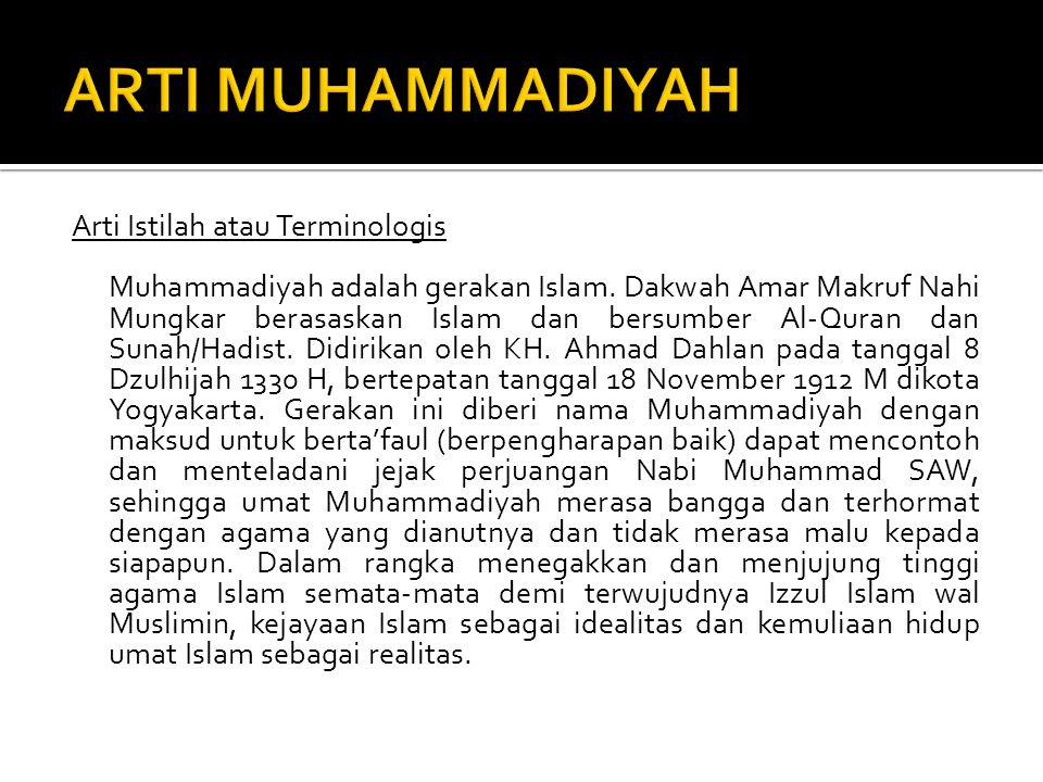 ARTI MUHAMMADIYAH