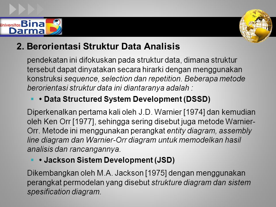 2. Berorientasi Struktur Data Analisis