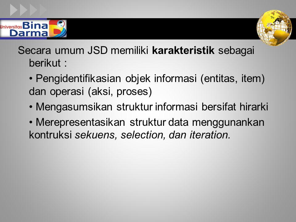 Secara umum JSD memiliki karakteristik sebagai berikut :