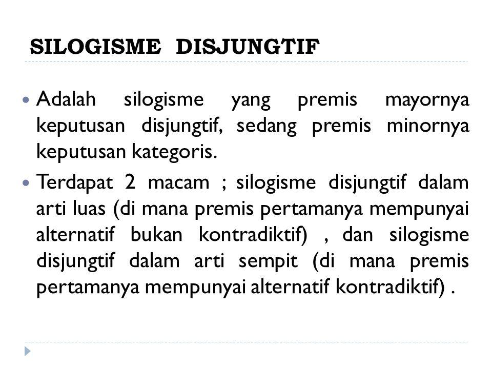 SILOGISME DISJUNGTIF Adalah silogisme yang premis mayornya keputusan disjungtif, sedang premis minornya keputusan kategoris.