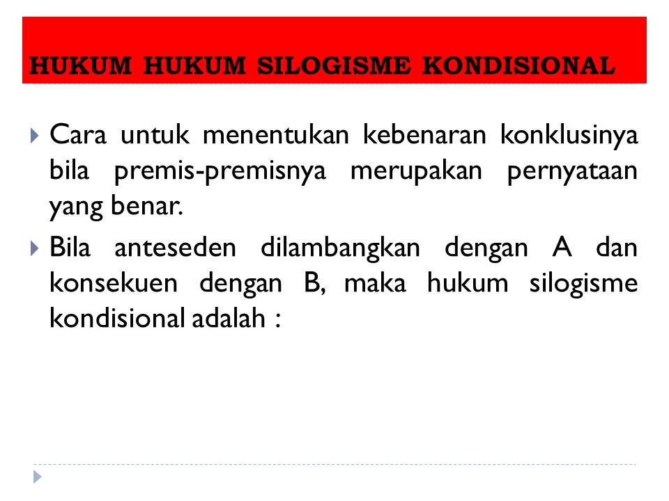 HUKUM HUKUM SILOGISME KONDISIONAL