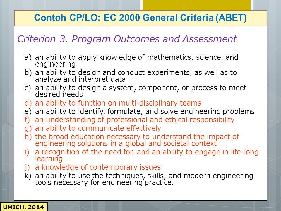 Contoh CP/LO: EC 2000 General Criteria (ABET)