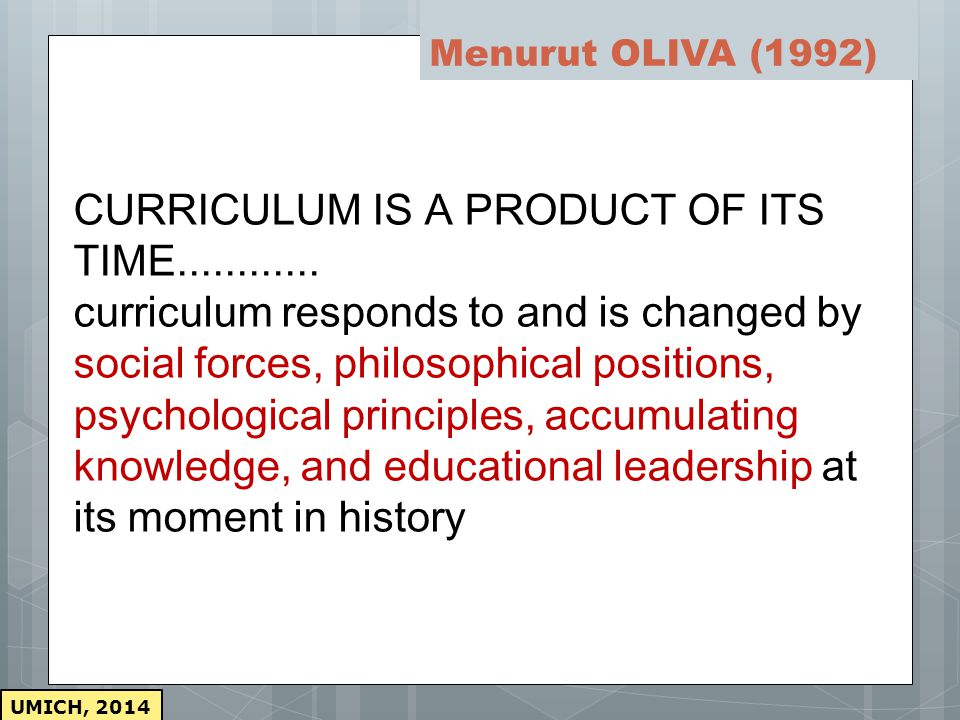 Menurut OLIVA (1992)