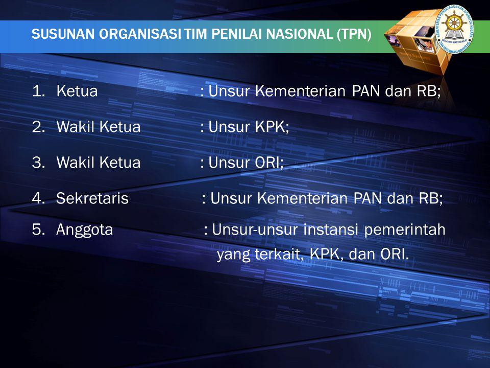 Ketua : Unsur Kementerian PAN dan RB; Wakil Ketua : Unsur KPK;