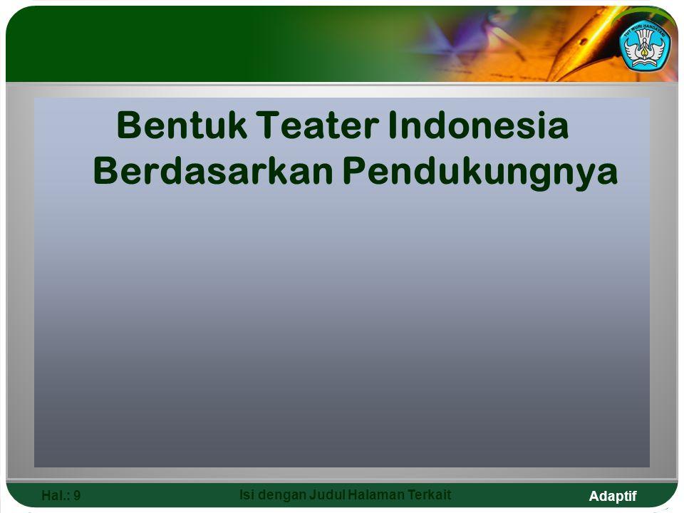 Bentuk Teater Indonesia Berdasarkan Pendukungnya