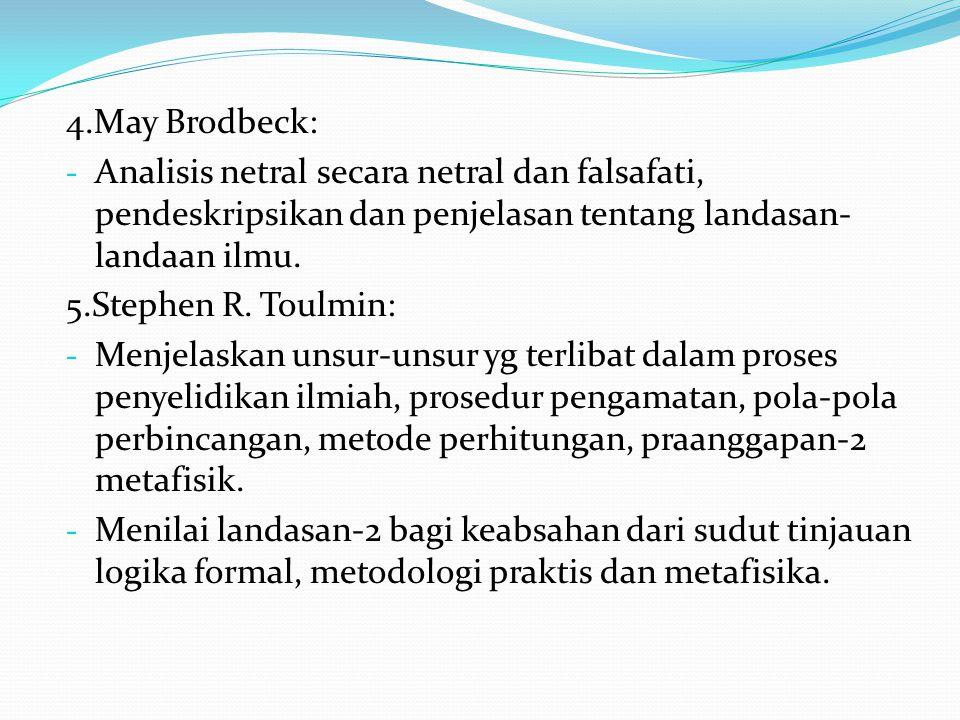 4.May Brodbeck: Analisis netral secara netral dan falsafati, pendeskripsikan dan penjelasan tentang landasan-landaan ilmu.