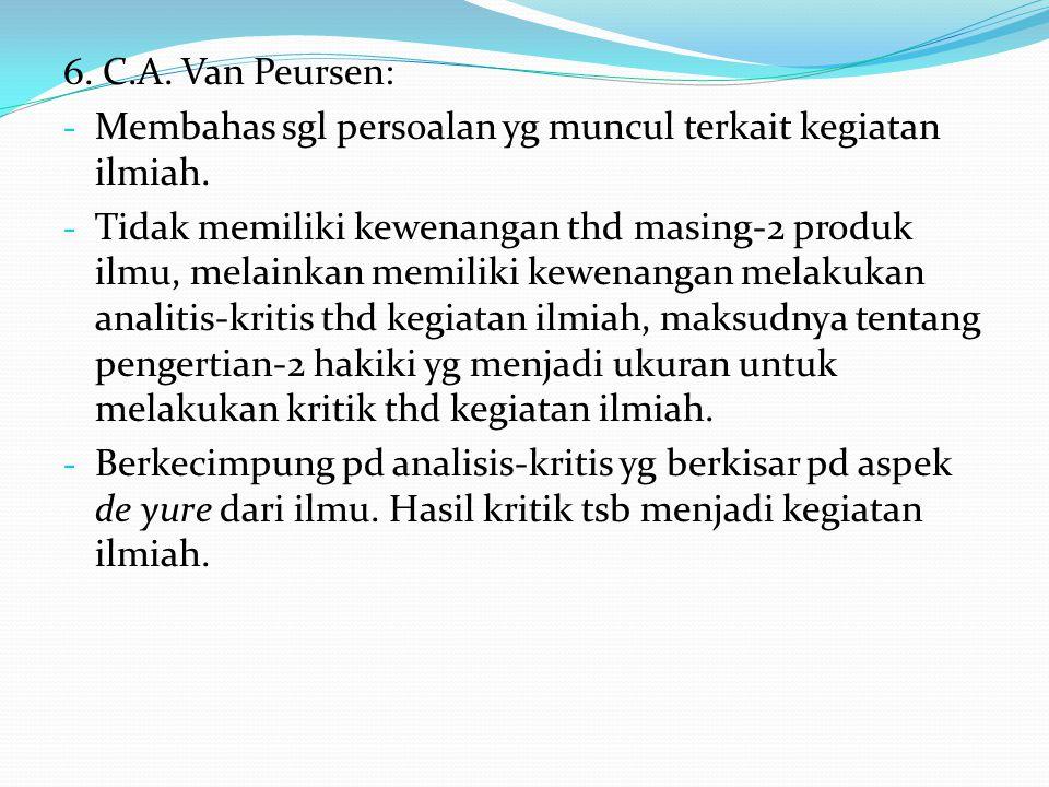 6. C.A. Van Peursen: Membahas sgl persoalan yg muncul terkait kegiatan ilmiah.