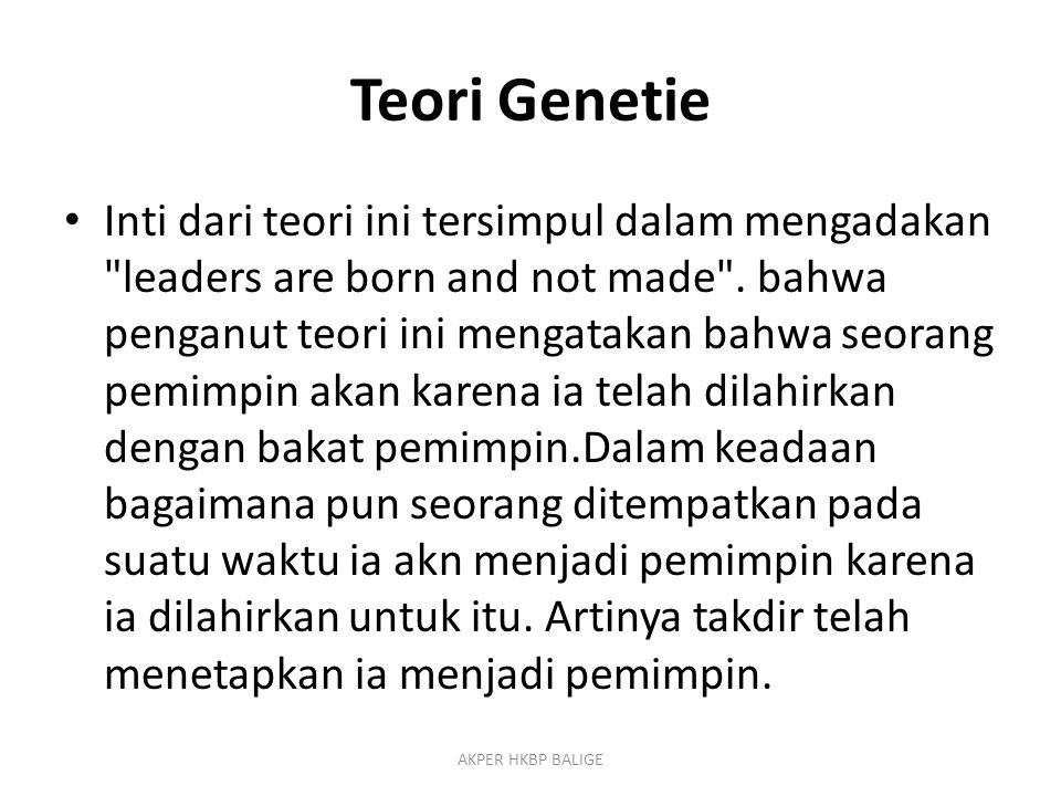 Teori Genetie