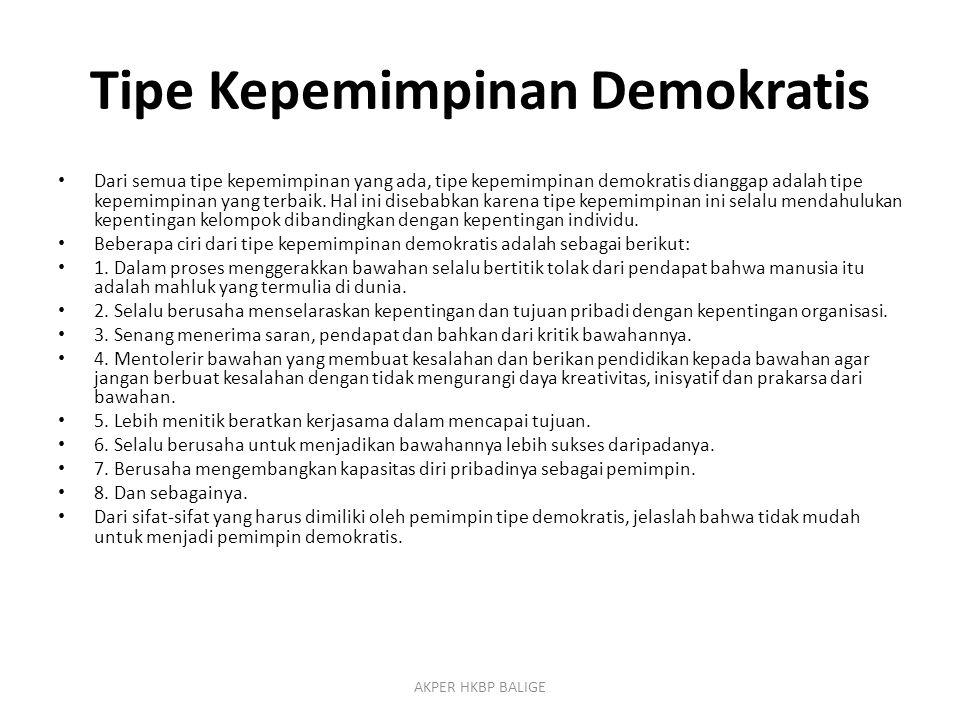 Tipe Kepemimpinan Demokratis